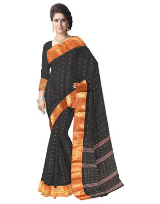 GiftPiper Bengali Tant Saree with Booti Motifs- Black