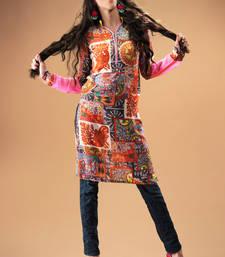 Buy Multi colour Georgeete Pakistani Kurti showing Traditional Motif pakistani-kurti online