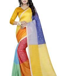 Buy Multicolor printed art silk saree with blouse silk-saree online