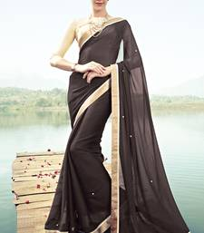 Buy coffee embroidered chiffon saree with blouse designer-embroidered-saree online