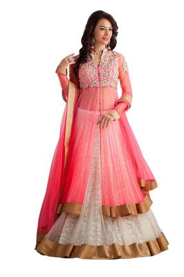 White Net embroidered lehenga with dupatta