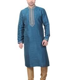 Buy chickoo churidar dupion silk kurta pajama kurta-pajama online