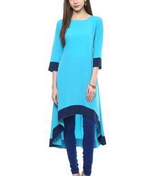 Buy Turquoise plain crepe multicolor-kurtis multicolor-kurti online