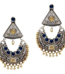 Buy Blue Color Glass Stone Oxidised Earrings For Girls and Womens danglers-drop online