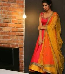 Buy Orange embroidered silk salwar with dupatta