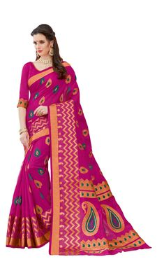 Dark pink printed patola saree with blouse