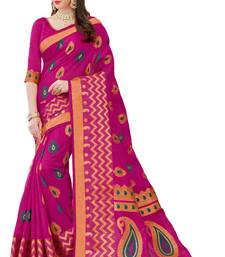 Buy Dark pink printed patola saree with blouse patola-sari online