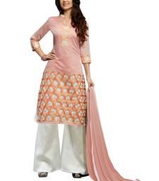 Buy Peach embroidered chanderi salwar with dupatta palazzo online