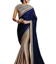 Buy Blue plain chiffon saree with blouse wedding-season-sale online
