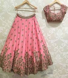Buy Peach embroidered cotton silk semi stitched lehenga lehenga-choli online