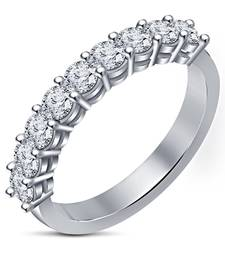 Buy Womens Platinum Plated White Round Cubic Zirconia Simple & Daily Use Band Ring Ring online