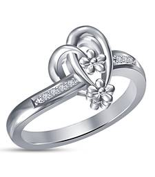 Buy Heart Solitaire Cut Flower Shape & Design 925 Sterling Silver Wedding Ring Ring online