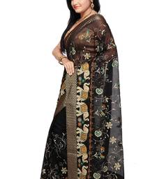 Buy Black woven super net saree with blouse hand-woven-saree online