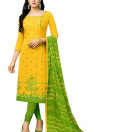 Buy Yellow embroidered jacquard salwar with dupatta dress-material online