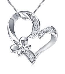 """Buy 925 Sterling Silver Platinum Plated Love Heart Butterfly Pendant W/ Chain 18"""" Chain Pendant online"""