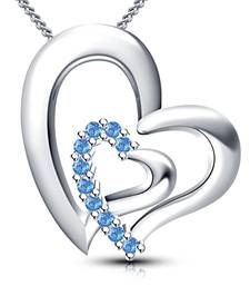 Buy 925 Sterling Silver Round Cut Aquamarine Stone Heart Shape Pendant With Chain Pendant online