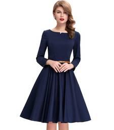 Buy Blue printed satin stitched party-wear-kurtis party-wear-kurtis online