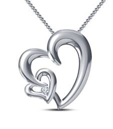 Buy 925 Sterling Silver Intertwined Classic Double Heart Pendant With Chain (Valentine collection Special Range) Pendant online