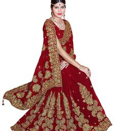 Buy Red embroidered faux georgette saree with blouse wedding-saree online