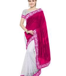 Buy Red plain velvet saree with blouse velvet-saree online