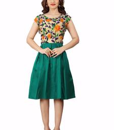 Buy Green embroidered silk short-kurtis short-kurtis online