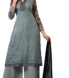 Buy Grey embroidered net semi-stitched salwar with dupatta party-wear-salwar-kameez online