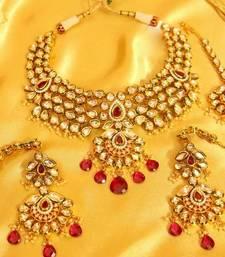 Buy Ruby Kundan Meenakari Royal Bridal Look Necklace Set bridal-set online