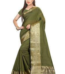 Buy Green woven cotton silk saree with blouse cotton-silk-saree online