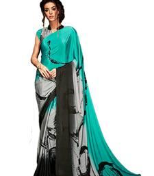 Buy Grey printed silk blend saree with blouse south-indian-saree online