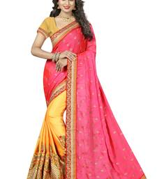 Buy Yellow embroidered silk blend saree with blouse south-indian-saree online