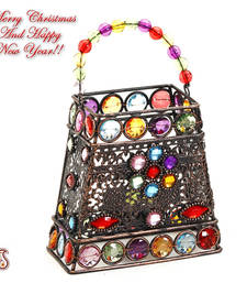 Buy Hand Purse Design Multi Color Wrought Iron Tea Light Holder christmas-decoration online