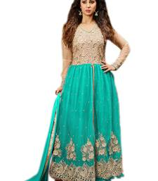 Buy Aqua  net embroidery unstitched salwar with dupatta dress-material online