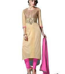 Buy CREAM & PINK LYCRA EMBROIDERED SEMI-STITCHED STRAIGHT SUIT semi-stitched-salwar-suit online