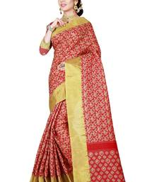 Buy Red woven linen saree with blouse linen-saree online