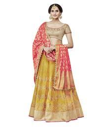 Buy Yellow embroidered crepe unstitched lehenga lehenga-choli online