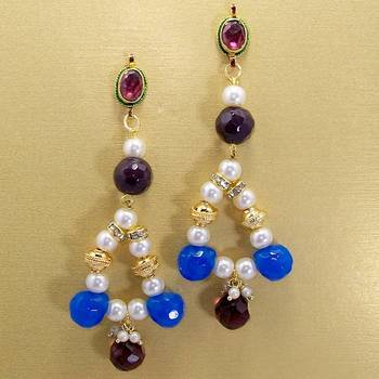 Pearl String Jhumars Violet Blues