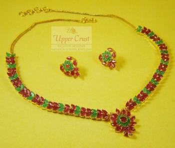 AD Ruby Panna Navratna Navrattan Necklace Jewellery