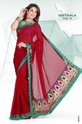 Self Pattern Maroon Saree