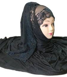 Buy Black diamond stone work hoisery cotton women's headscarf hijab online