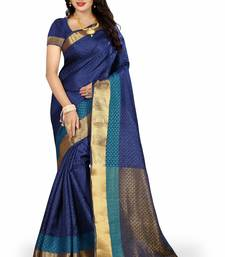 Buy Blue printed poly cotton saree with blouse bridal-saree online
