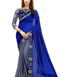 Buy Blue embroidered lycra saree with blouse half-saree online