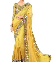 Buy Yellow printed georgette saree with blouse bollywood-saree online