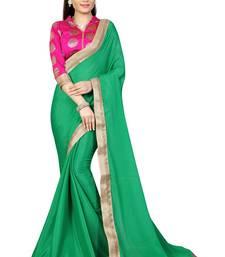 Buy Green plain silk saree with blouse art-silk-saree online