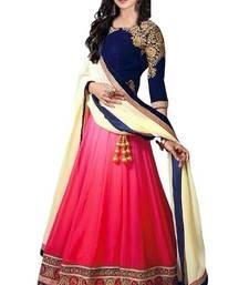 Buy Pink embroidered net unstitched lehenga bollywood-lehenga online