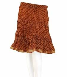 Buy Designer Print Latest Wine Color Cotton Mini Skirt skirt online