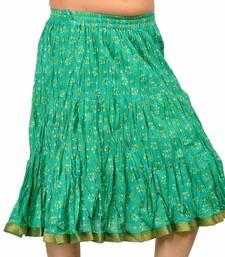 Buy Ethnic Rajasthani Green Cotton Short Skirt skirt online