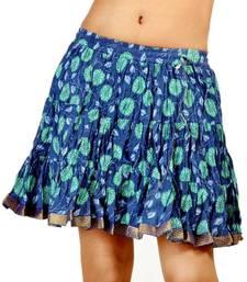 Buy Blue Floral Print Pure Cotton Girls Mini Skirt skirt online