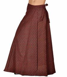 Buy Trendy Block Print Red Black Wrap Around Skirt skirt online