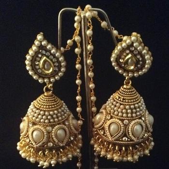 buy bridal heavy ethnic big pearl kundan jhumka india earrings online