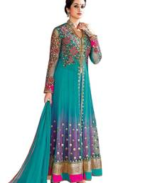 Buy Green net embroidered semi stitched salwar with dupatta anarkali-salwar-kameez online